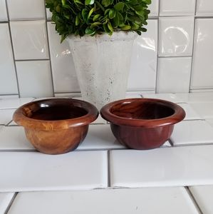 Lot of 2 Small Wood Trinket/Serving Bowls